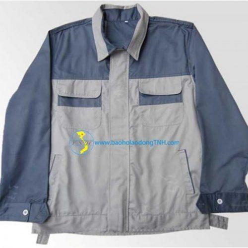 Áo BH vải kaki 7500 phối mầu ghi + ghi chì ( kiểu Nhật kéo khóa )